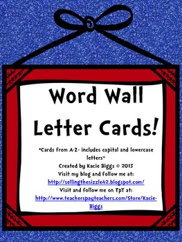 Word Wall Letter Cards- Red and Blue Color Theme