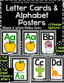 Alphabet Letter Cards and Alphabet Posters - Black & White Polka Dots