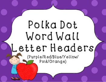 Word Wall Letter Headers {Colorful Polka-Dots} 2