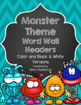 Word Wall Letter Headers! ~Monster Theme~
