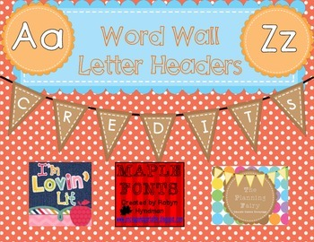 Word Wall Letter Headers: Orange