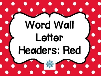 Word Wall Letter Headers: Red