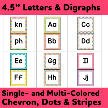 """Word Wall Letters & Title in """"Crazy for Color"""" Chevron, Stripes, and Dots"""