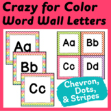 "Word Wall Letters & Title in ""Crazy for Color"" Chevron, St"