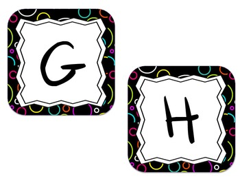 Word Wall Letter Labels - Black with Colored circles(for each letter)