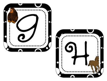 Word Wall Letter Labels - Black/White with Animals for each letter