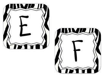 Word Wall Letter Labels -Zebra (for each letter)