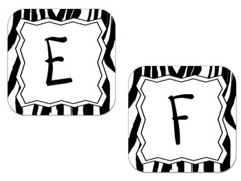 Word Wall Letter Labels -Zebra (for each letter)