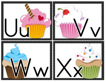 Word Wall Letter Large Labels: Cupcake Themed