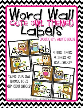 Word Wall Letter Large Labels: Owl Themed