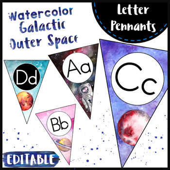 Word Wall Letter Pennants { Watercolor Galaxy Space Theme }