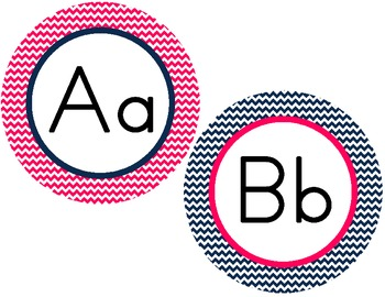 Word Wall Letter Round Labels: Pink & Navy Chevron (matches Nautical Theme)