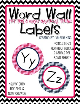 Word Wall Letter Round Labels: Pink & Navy Chevron (matche