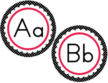 Word Wall Letter Round Labels: Pink Scalloped Polka Dots