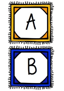 Word Wall Letters - Yellow & Blue