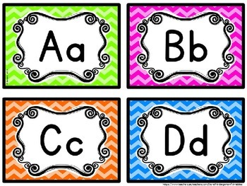 Word Wall Letters Bright Chevron Theme