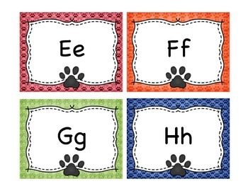 Dog theme word wall letters