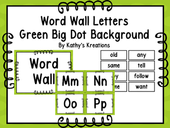 Word Wall Letters & 200 Fry Words -Green With Green Polka Dots