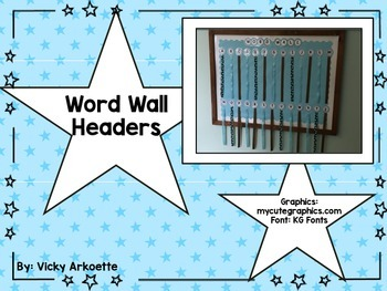 Word Wall Letters- Blue Stars