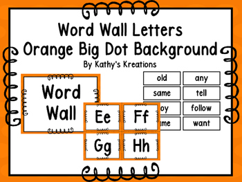 Word Wall Letters & 200 Fry Words-Orange With Orange Polka Dots