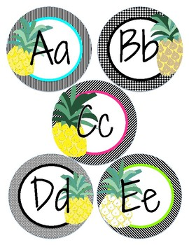 Pineapple Word Wall Letters