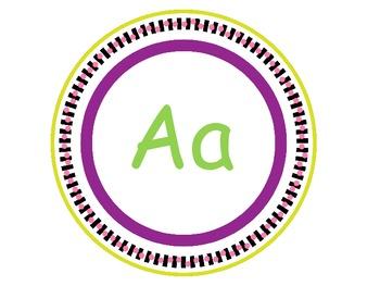 Word Wall Letters {Aa-Zz} Purple & Green