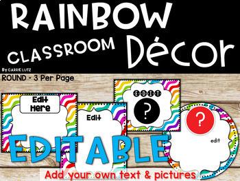 Rainbow Classroom Decor Editable
