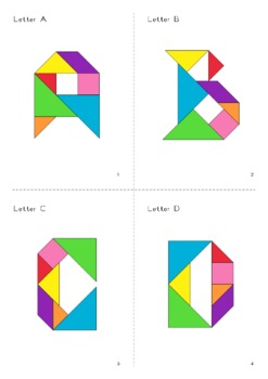Tangram Alphabet Letters - Puzzle Cards + Math Mats by ...