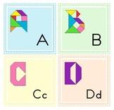 Tangram Alphabet Letters - Puzzle Cards + Math Mats