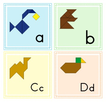 Tangram Alphabet Animals - Word Wall Letters + Puzzle Worksheets