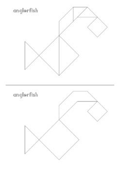 tangram alphabet animals - puzzle cards + math mats