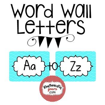 Word Wall Letters - Aqua Chevron