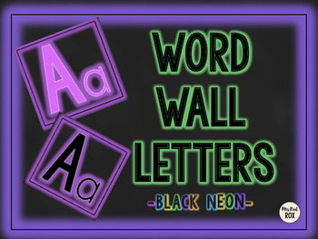 Word Wall Letters -Black NEON-