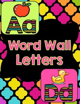 Word Wall Letters - Black & Neon