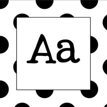 Word Wall Letters (Black Polka Dot)