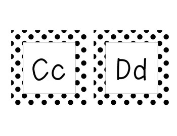 Word Wall Letters (Black Polka Dot Primary Font)