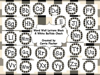 image regarding Printable Word Wall Letters named Term Wall Letters Black White Buffalo Keep an eye on