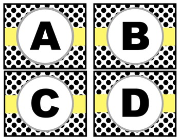 Word Wall Letters - Black & White Polk-a-dot with yellow stripe