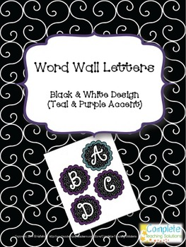 Word Wall Letters - Black and White