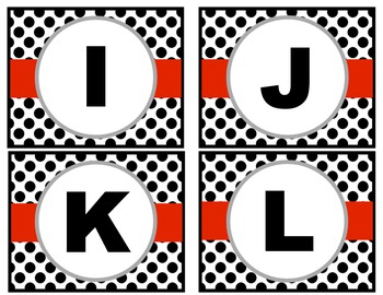 Word Wall Letters - Black and White Polk-a-dot