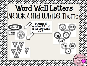 Word Wall Labels (Black and White Theme)