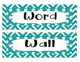 Word Wall Alphabet Letters - Blue Chevron/polka dot letter