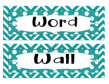 Word Wall Alphabet Letters - Blue Chevron/polka dot letter