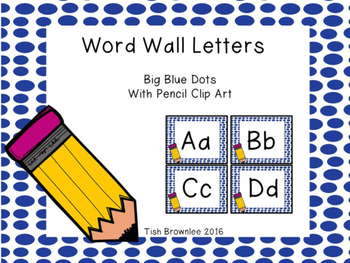 Word Wall Letters Blue Dots