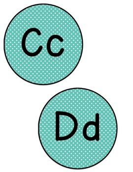 Word Wall Letters (Blue Polka Dot)