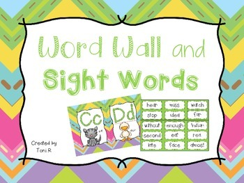 Word Wall Letters Bright Chevron Background and first 300 Fry Sight Words