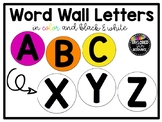Word Wall Letters (Bright Rainbow and Black & White)