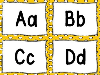 Word Wall Letters Bright Yellow with Polka Dots and 200 Fry Words