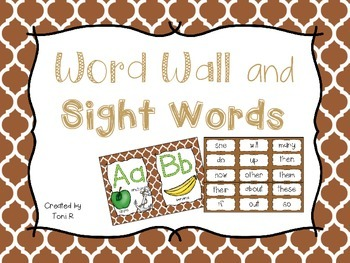 Word Wall Letters Brown Moroccan Background and first 300 Fry Sight Words