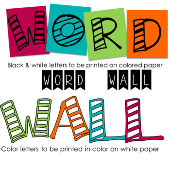 Word Wall Letters & Cards Editable